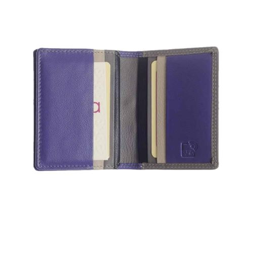 Mala Leather Grafton Collection Multi Card Holder Purse in Purple with RFID Protection